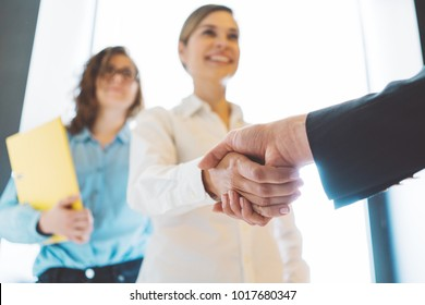 Business women shaking hands in the office. Finish successful, meeting room conference. Three person