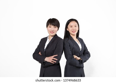 Business women stood before white backgrounds