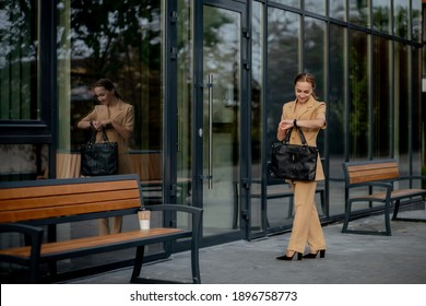 Business Women Style. Woman with Briefcase Going To Work. Portrait Of Beautiful Smiling Female In Stylish Office Clothes. High Resolution
