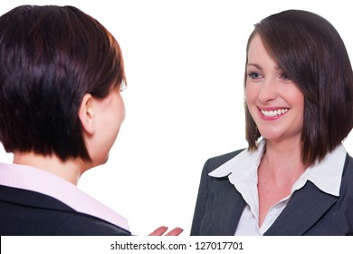 Business women talking to each other
