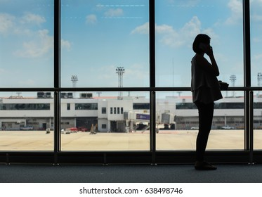business women working at airport
