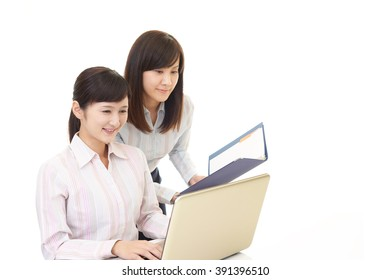 Business women working on a laptop