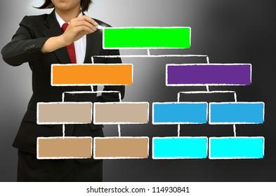 Business women writing organization chart