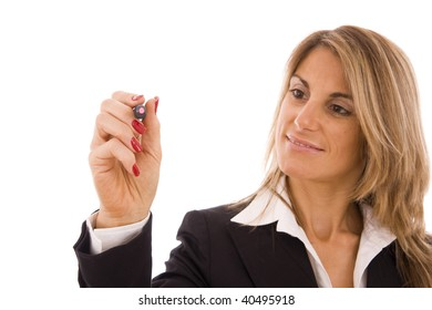 Business women writing something with a pink marker