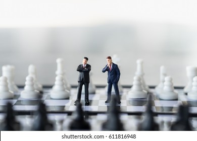 Business and work concept. Two businessmen miniature mini figure