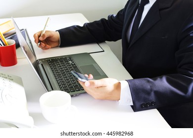 Business  working at office desk