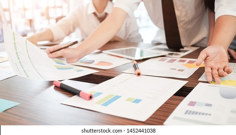 Business working in office with documents and laptop people Consulting and business planning.