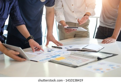 Business working in office with documents and tablet people Consulting and business planning.