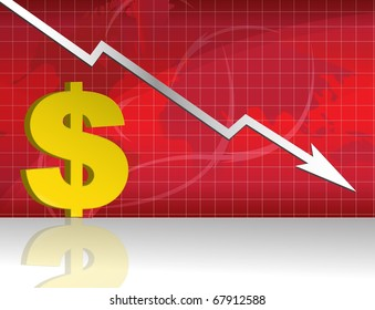 Business worries with dollar losing graph.