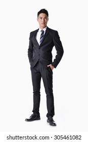 Business young man of Asian, full length portrait isolated on white background.