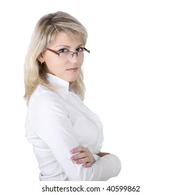 The business young woman in eyeglasses on a white background