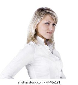 The business young woman on a white background