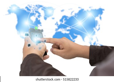Business,communications,connection,technology concept.businessman using smartphone upload data Business over blurred World map shows the network of communication links.technology.select focus