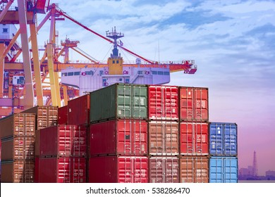 Business,container,Import Export,industrial port with containers