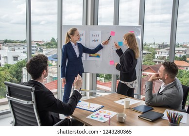 Businesses group seminars and Two woman conferences to work effectively and increase sales with team and Boss Listen report at meeting room.