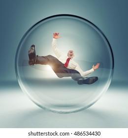 businessman in 3d glass bubble