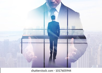 Businessman in abstract office with city view. Success and forward concept. Double exposure