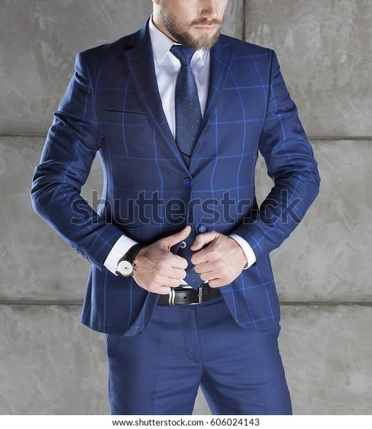 Businessman Accesories Blue Suit Vest Leather Stock Photo