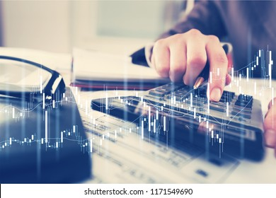 Businessman or accountant hand working in the office