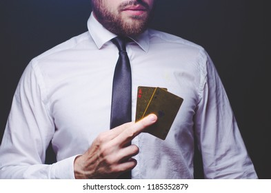businessman with ace in his hand