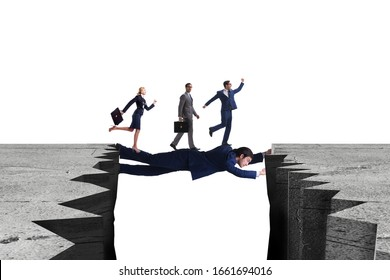 Businessman acting as a bridge in support concept