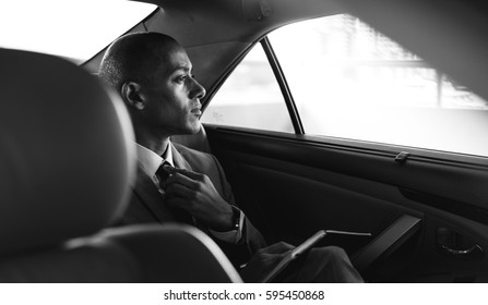 Businessman Adult Sit Inside Car