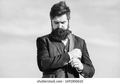 Businessman against the sky. brutal caucasian hipster with moustache. Mature hipster with beard. Future success. Agile business. Confident businessman. startup business. formal fashion. Bearded man.