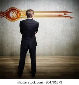 businessman aligning many ideas