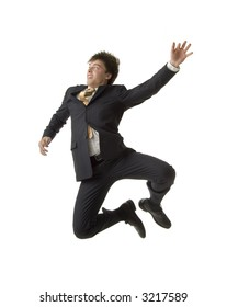Businessman almost flies in a hurry