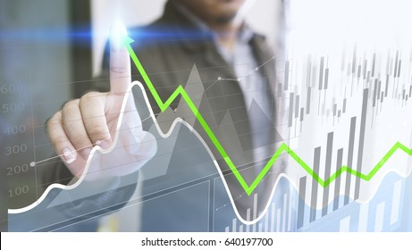 Businessman analysis finance diagram. Business graph background. financial graph