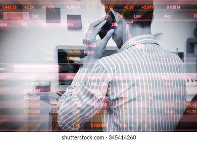 Businessman analysis the stockmarket on labtop in home office, Stock Market Investment Online