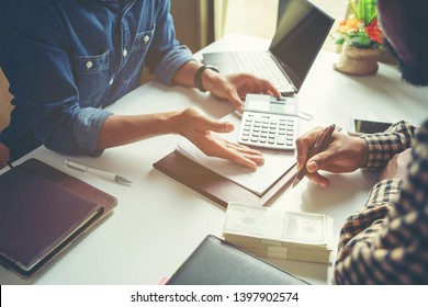 Businessman analyze concept ; Co-working Business Team Consulting meeting Planning Strategy Analysis investment and saving concept.Young business startup working on market analyst.