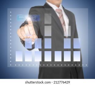 businessman analyze graph on high technology screen