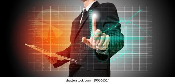 businessman analyze graph on screen