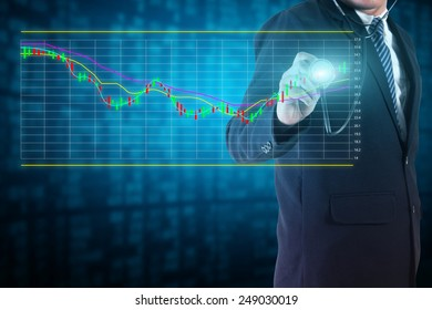 Businessman analyze stock market charts and graphs