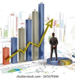 Businessman analyzes graphics and profits of company