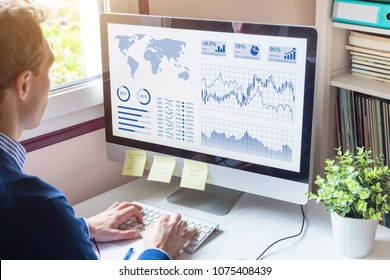 Businessman analyzing Business Analytics (BA) or Intelligence (BI) dashboard with Key Performance Indicators (KPI) and financial metrics to take investment decisions, fintech concept