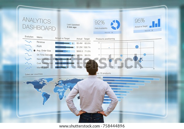Businessman analyzing a business analytics (BA) or intelligence (BI) dashboard on virtual screen showing sales and operations data statistics charts and key performance indicators (KPI)