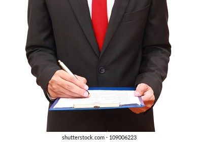 businessman analyzing document isolated on white background  with clipping path