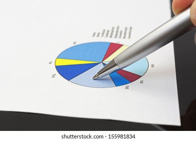 businessman is analyzing financial report on pie chart