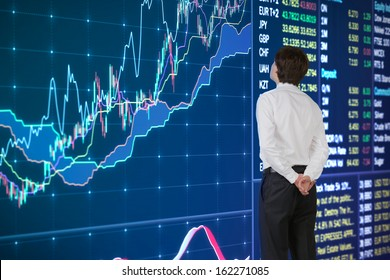 businessman analyzing news, graph and quotes on screen