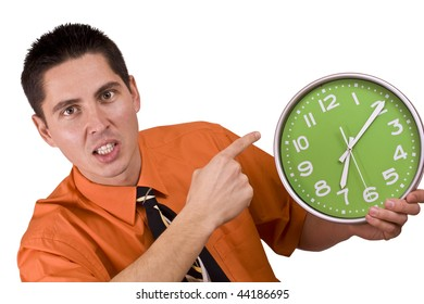 Businessman is angry, because somebody is not on time Isolated on white.