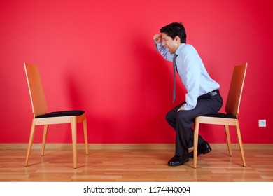 Businessman angry with an empty place