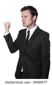 businessman is angry and showing his fist