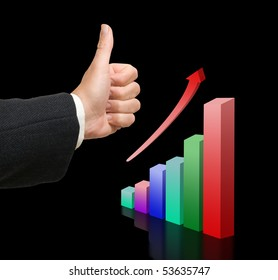 A businessman approving a chart