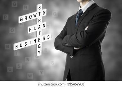 Businessman Arm Cross Crossword Puzzle With Keyword, Business, Plan, Growth