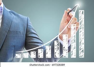 businessman asian genius guide stock exchange use pen black drawing graph red line company Success finance business future white isolated