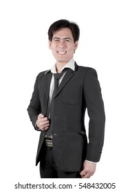 businessman asian handsome man black suit & necktie
