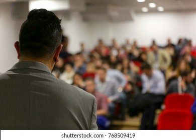 Businessman in the auditorium, Conference Hall, successful startup business, seminar and education young business people.