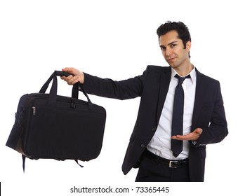 Businessman with bag presenting to the camera